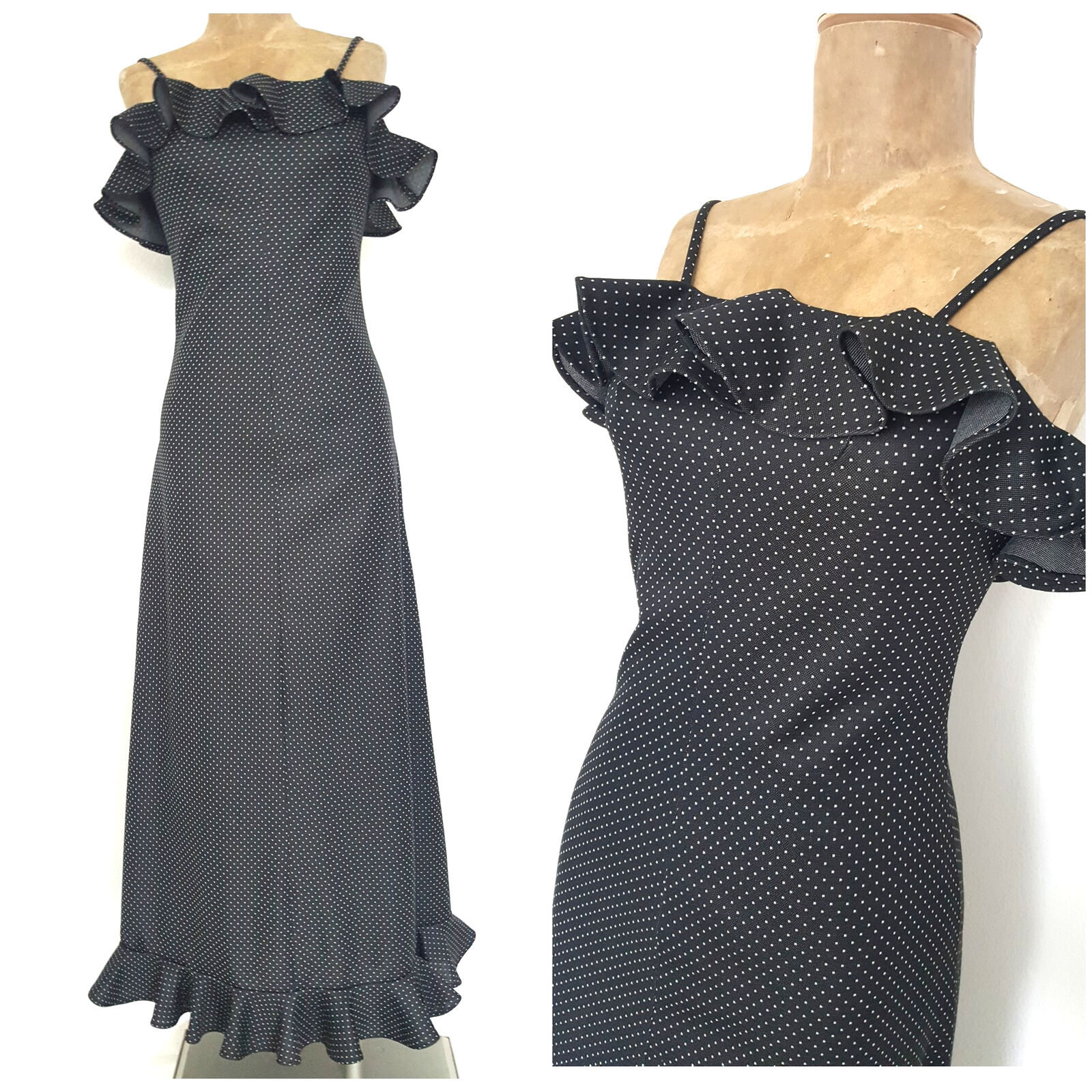 Vintage 70s Dotted Ruffle Maxi Dress Size Small MOD Festive Party Polka Dot