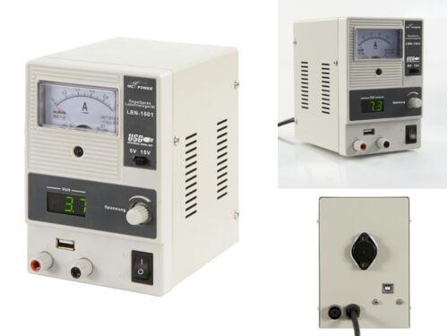 Lbn-1501 USB McPower Laboratorio Alimentatore 0-15v 0-1a 15w 5v USB laboratorio alimentatore trasformatore