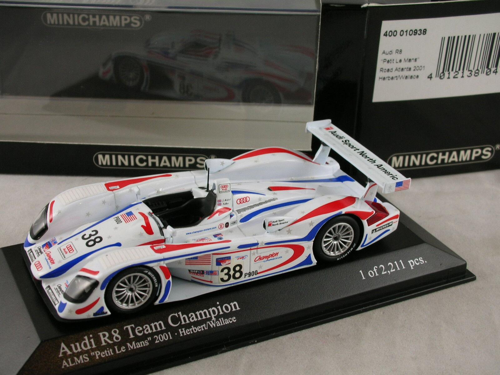 Minichamps AUDI AUDI AUDI R8 equipo campeón de la limosna  Petit Le Mans  2001 Herbert Wallace 49d6a9