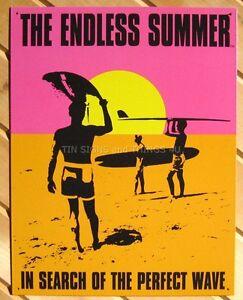 ENDLESS SUMMER Surfing Surf Surfboard Beach Wave Metal Tin Sign 16x16 inch