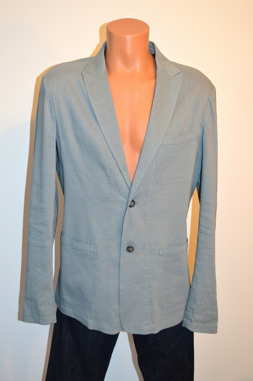 New 398 Elie Tahari Miles Linen Sports Coat Blazer Rainstorm Blau sz Large