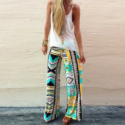 Fashion Womens Casual Baggy Long Pants Palazzo Floral Print Harem Trousers