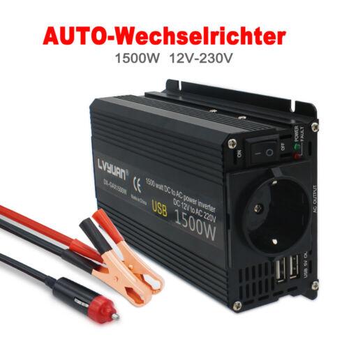 1500W Max Spannungswandler DC 12V auf AC 230V Inverter Wechselrichter 2USB DE