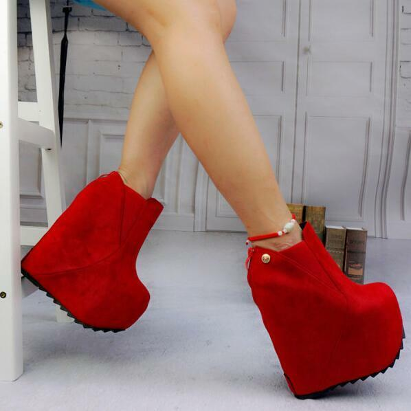 Womens Super High Wedge Platform Round Toe Ankle Boots Casual Clubwear Pump shoes
