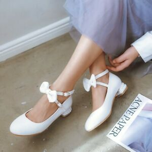 Bowknot-Low-Heels-Women-039-s-Sweet-Mary-Jane-Buckle-Ankle-Strap-Solid-Casual-Shoes