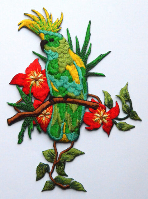 Colourfull Green Cockatoo Embroidered Motif Iron On Patch for garments parrot