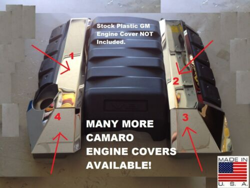 Camaro 2010-2015 4 Pc FUEL RAIL COVER KIT Stainless Steel engine chrome V8