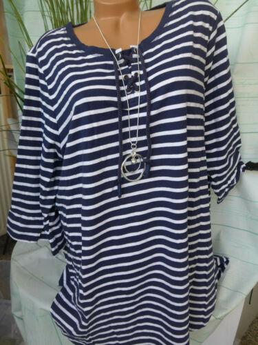 718 Sheego Shirt Tunique Chemise Longue BLEU BLANC taille 44//46 à 56//58 Marine NEUF