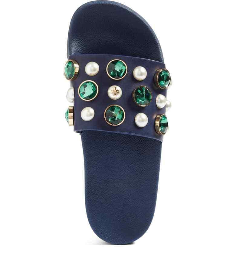 Tory Burch Vail Embellished Slide Sandals Size 7 Blue