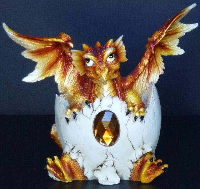 "TOPAZ   Birthstone Dragon in Egg Shell   NOVEMBER  Figure Statue H5.5"""
