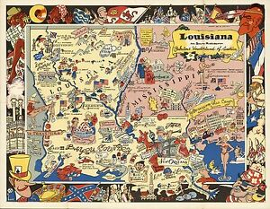 1951 Pictorial Map Louisiana Mississippi Fabulous Wonderland America