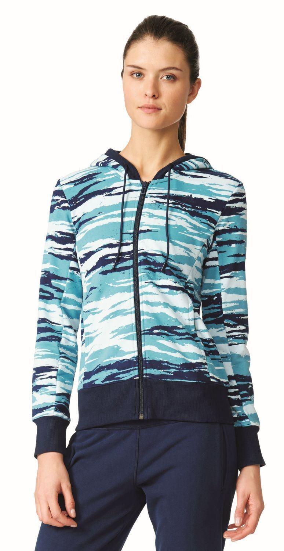 Adidas Performance Femme Fitness Veste À capuche Essentials Linear à AOP blue
