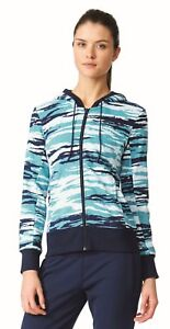 Details zu adidas Performance Damen Fitness Kapuzen Jacke Essentials Linear Hoodie AOP blau