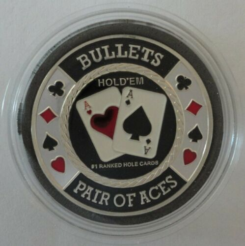 BULLETS Pair of Aces silver color Poker Card Guard Cover