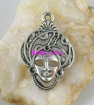25 Pcs Tibetan silver beautiful lady mask charms A1946