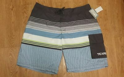 Texas Liberal American Crown Men's Aqua/gray White Board Shorts/swim Trunks Size Xl Easy To Lubricate