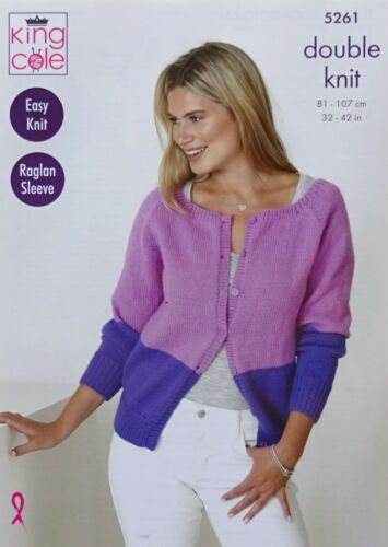 Knitting Pattern femmes Easy Knit 2 Couleur /& rayé CARDIGANS DK King Cole 5261