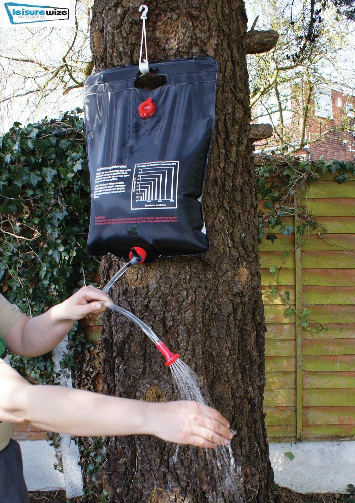 Leisurewize Portable Outdoor 20L Travel Camping Solar Heated Water Shower