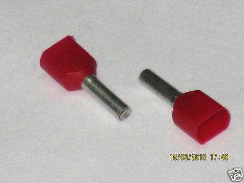 48 terminaisons twin rouge 2 x 1,0 mm² x 8mm