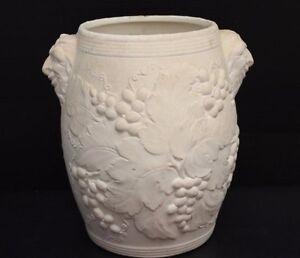 vintage stamped usa hartstone pottery unglazed vase w grapes