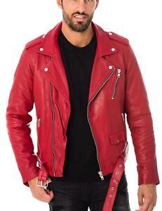 Mens Stylish Motorcycle Biker Genuine Lambskin Leather Jacket 257