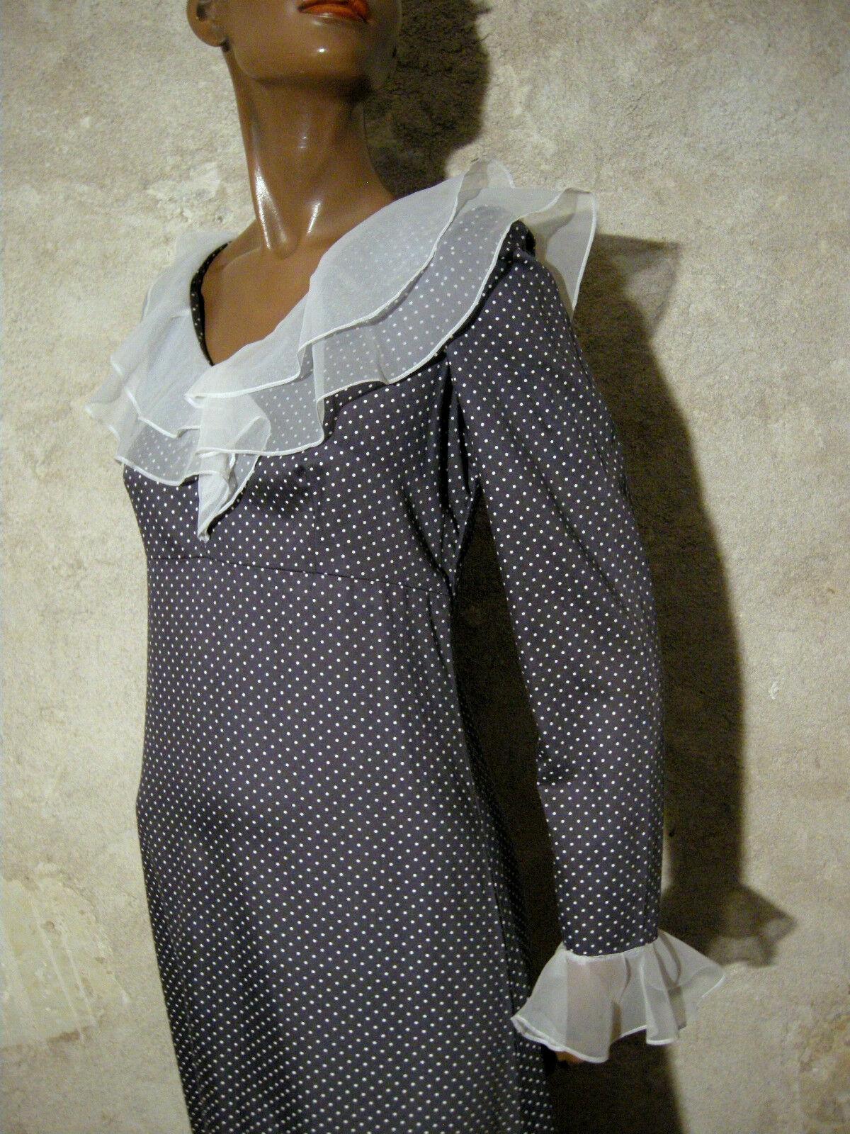 Schick Vintage Langes Kleid Erbsen Baumwolle 1970 Vtg Maxi 70er Kleidung (38)