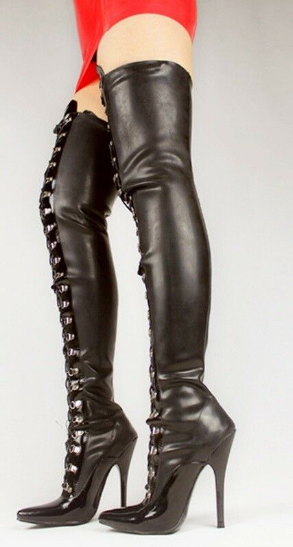 Grandes zapatos con descuento BLACK PVC AND LEATHER THIGH High HEAL BOOTS, high heals 12CMS BALLET BOOT