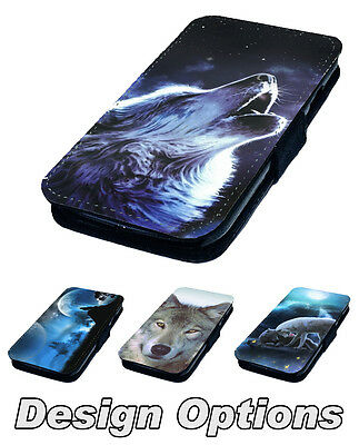 Classic Wolf Designs Printed Faux Leather Flip Phone Cover Case 2