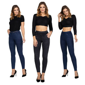 Women's High Waisted Marble Jeans Denim Pants Pocket Stretchy Leggings SSFA