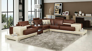 Image Is Loading Modern Large Leather Sofa Corner Suite New Brown