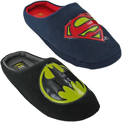 Batman Superman Velour Mule Slippers Novelty Dc Comics Mens Slip On Warm Fun
