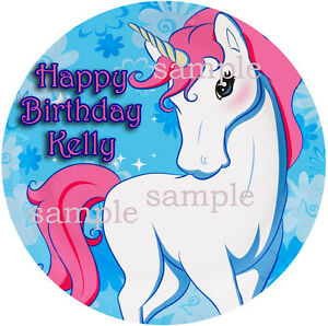 UNICORN Round Edible ICING Image Birthday CAKE Topper ...