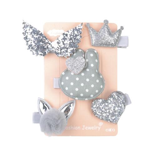 5Pcs//Set Handmade Kids Girls Cartoon Hair Clips Barrettes Headwear Accessories