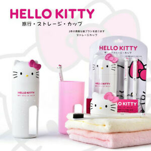 Hello-Kitty-lovely-wash-set-2-soft-toothbrush-cup-Travel-gift-bathroom