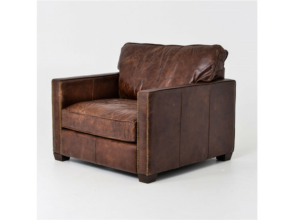40 Quot W Club Chair Top Grain Distressed Leather Vintage