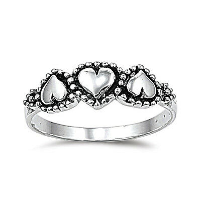 .925 Sterling Silver Three Hearts Fashion Promise Ring Size 3-12 NEW