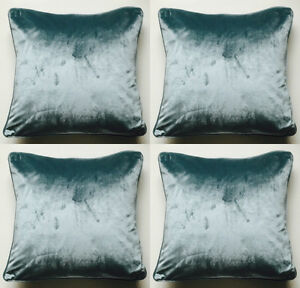 4  X LUXURIOUS SUPER SOFT TEAL MILANO VELVET DELUXE CUSHION COVERS 43 X 43 CMS