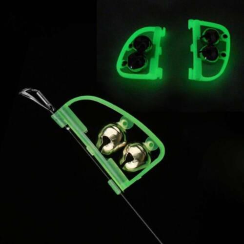 5Pcs Night Glow Fishing Rod Tip Fish Bite Alarm Alert Clip Bells Ring Accessory