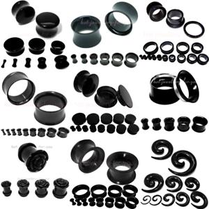 BLACK-FLESH-TUNNEL-EAR-PLUG-STRETCHER-steel-silicone-acrylic-screw-fix-flared