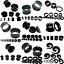 BLACK-FLESH-TUNNEL-EAR-PLUG-STRETCHER-steel-silicone-acrylic-screw-fix-flared miniatura 1