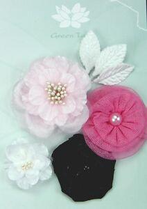 DANCE-CLASS-Fabric-Mixed-Designs-4-Flowers-35-60mm-across-3Leaves-Green-Tara