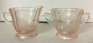 Vintage Recollection Pink Indiana Glass Open Sugar Bowl & Creamer Madrid Pattern