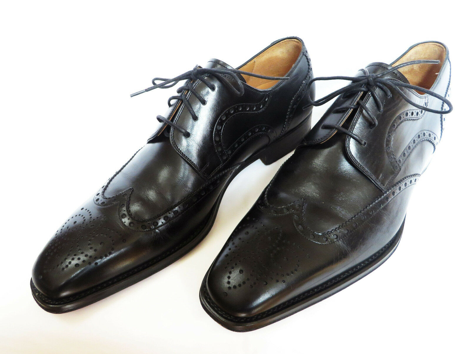 MAGNANI Sergio Spagna Mens nero Wing Tip Leather Derby Oxfords  scarpe 9.5 M  design unico