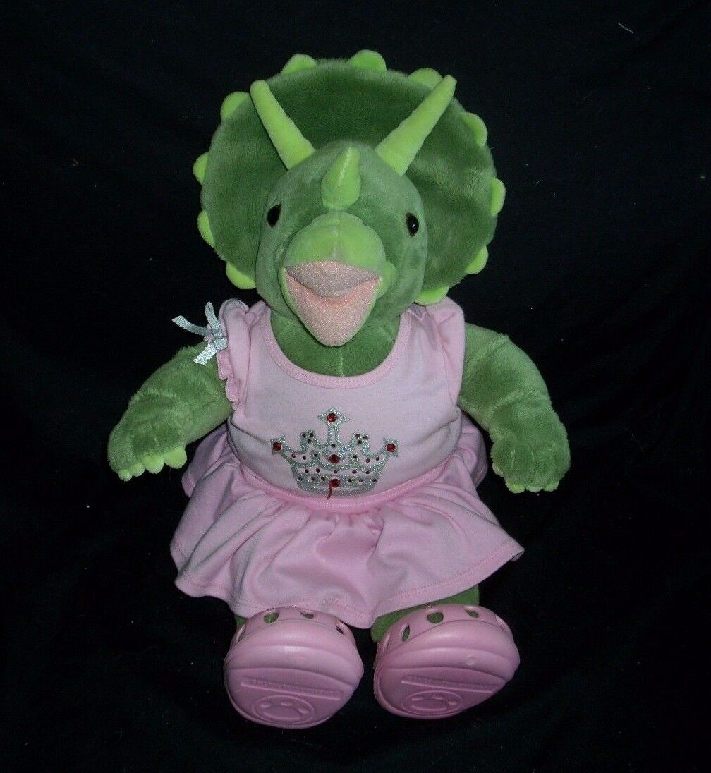 17  BUILD A BEAR GREEN DINOSAUR DINO PINK OUTFIT SHOES STUFFED ANIMAL TOY PLUSH