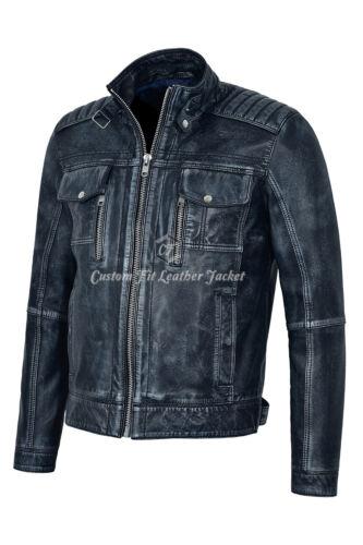 Real Veste Look marine Biker Napa 1802 Vintage Style Denim en Bleu hommes cuir pour q4wrPqT
