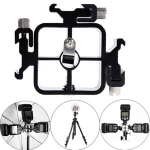 Triple Hot Shoe Mount Adapter Flash Light Stand Umbrella Holder Bracket Black LU
