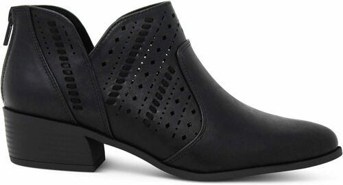 Details about  /MARCOREPUBLIC Egypt Womens Almond Toe Perforated Side Cut Chunky Block Heels Low