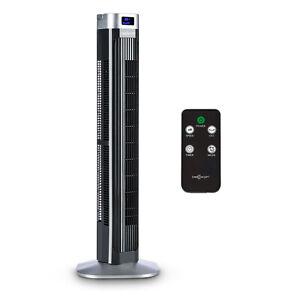 Ventilateur-tour-colonne-sur-pied-oscillation-45-3-niveaux-LED-95cm-design-noir