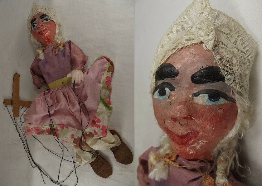 ANTIQUE MARIONETTE PUPPET Hand Made Vintage PAPER MACHE FOLK ART Toy Doll WOOD