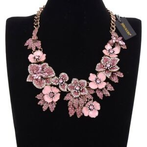 Vintage-Gold-Chain-Pink-Enamel-Crystal-Collar-Statement-Pendant-Bib-Necklace-New